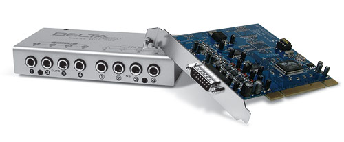 M-Audio Delta 44 PCI card with included breakout box.