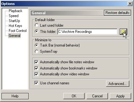 Specify the folder where you save your recording files