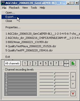 Go to the File => Export menu of the Liberty Player