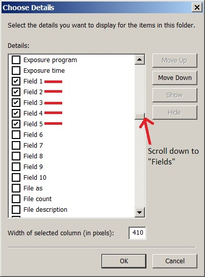 Check Fields you want to show in Windows Explorer.